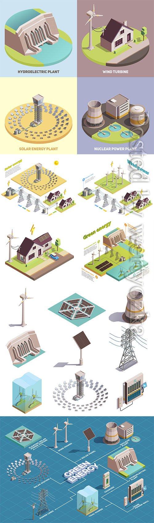 Green energy production isometric vector illustration