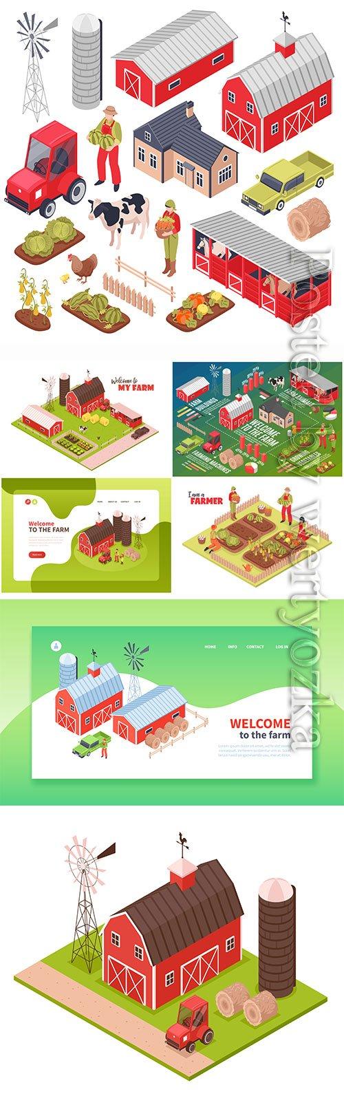 Isometric farm and farmers vector illustration