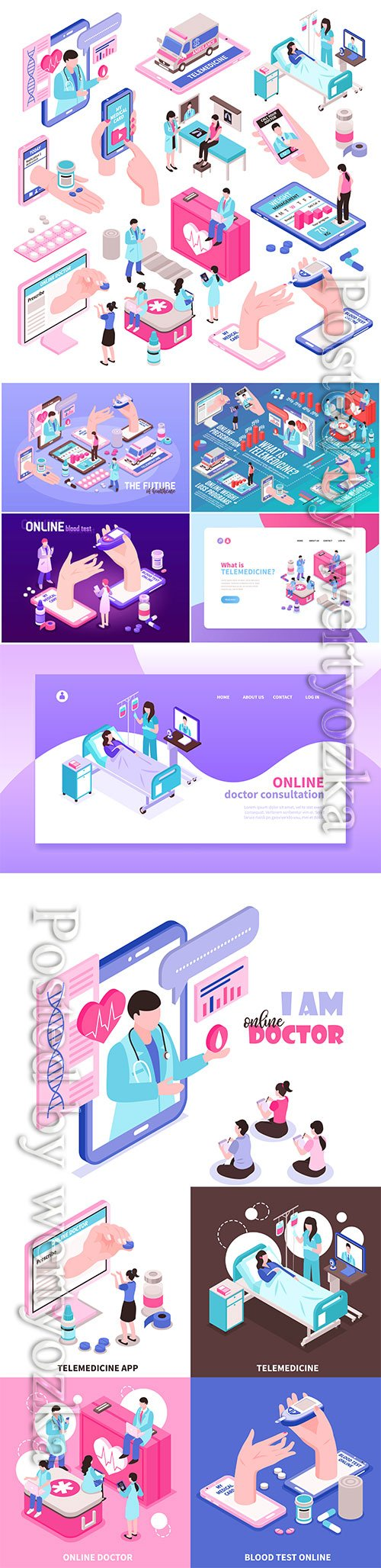 Online medicine and digital health isometric elements vector set
