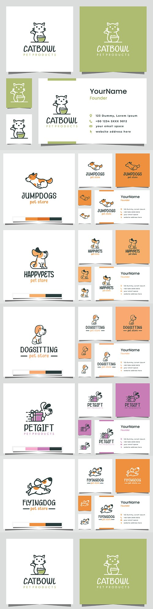 Pets gift goods design logo and business card