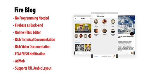 CodeCanyon - Fire Blog v1.3 - Native Android Blog or News App with Firebase Back-end - 23113393