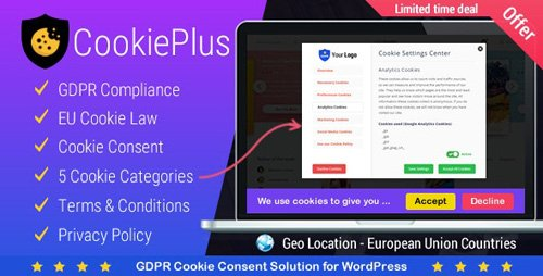 CodeCanyon - Cookie Plus GDPR v1.4.5 - Cookies Consent Solution for WordPress. Master Popups Addon - 21984547
