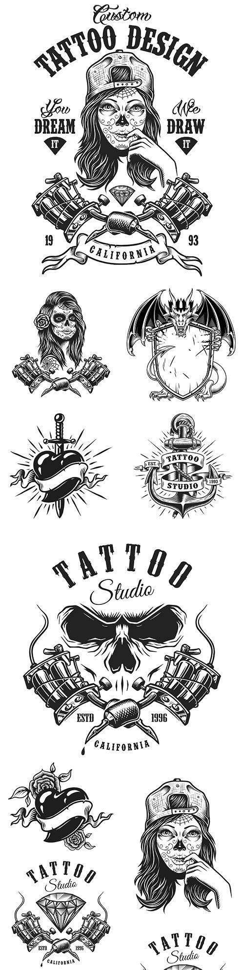 Vintage monochrome tattoo design emblem