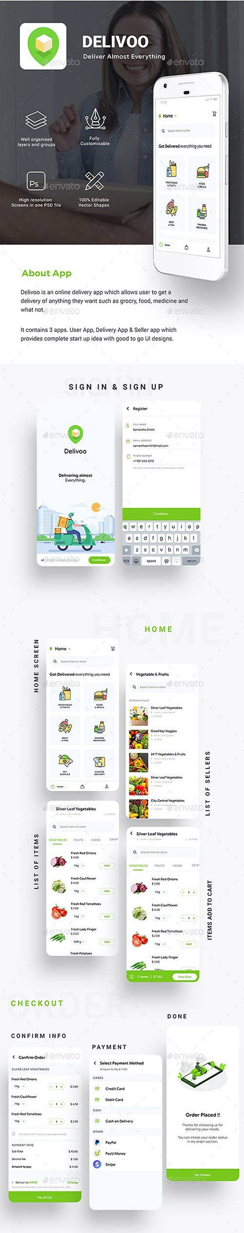 Moden Custom Delivery for Food, Grocery, Medicine etc. App UI | Delivoo 26442059