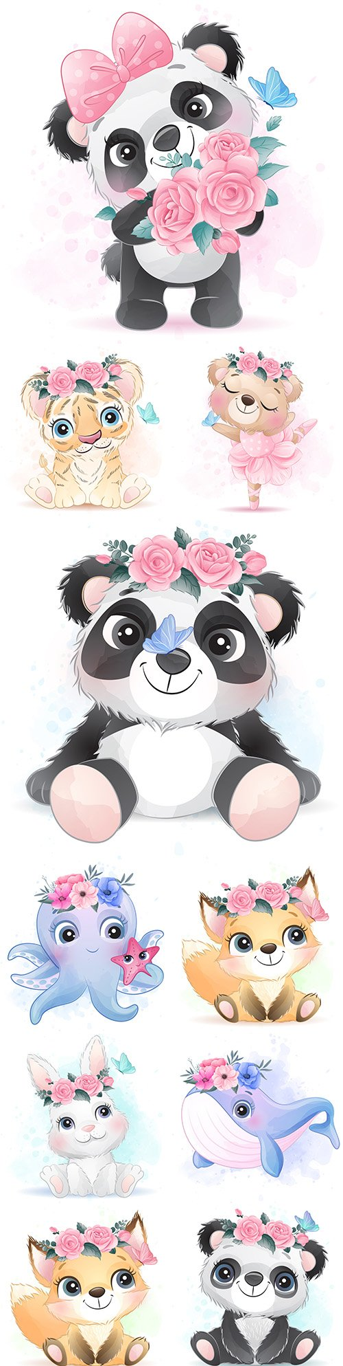Cute panda, fox and other animals with flowers