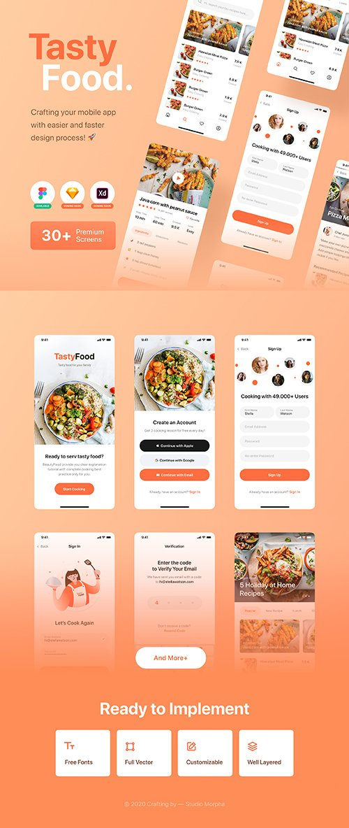 Tasty Food - Cooking Courses App UI Kit