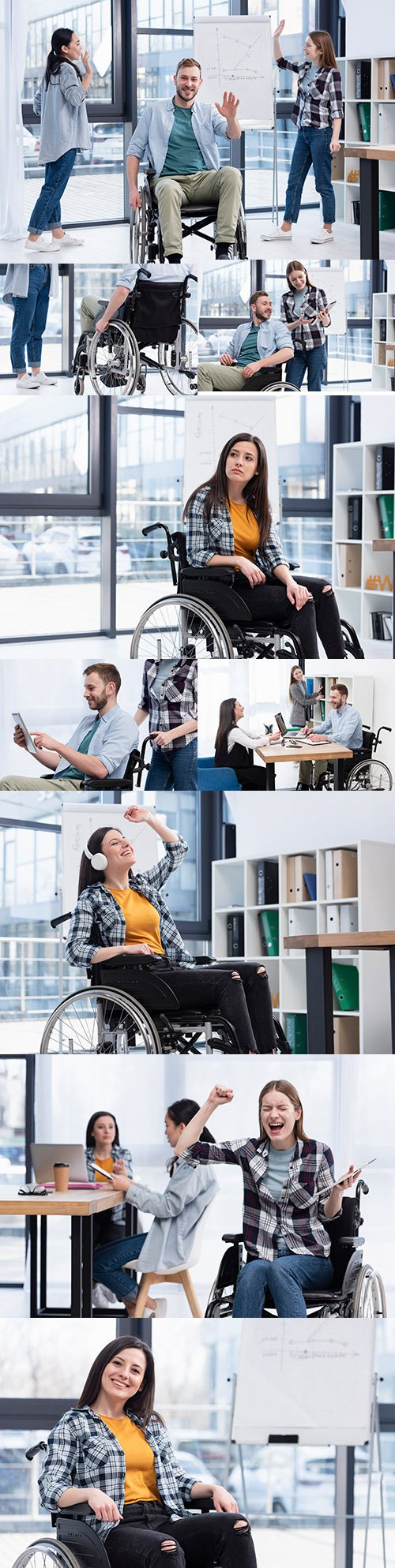 Business people with disabilities at work in office