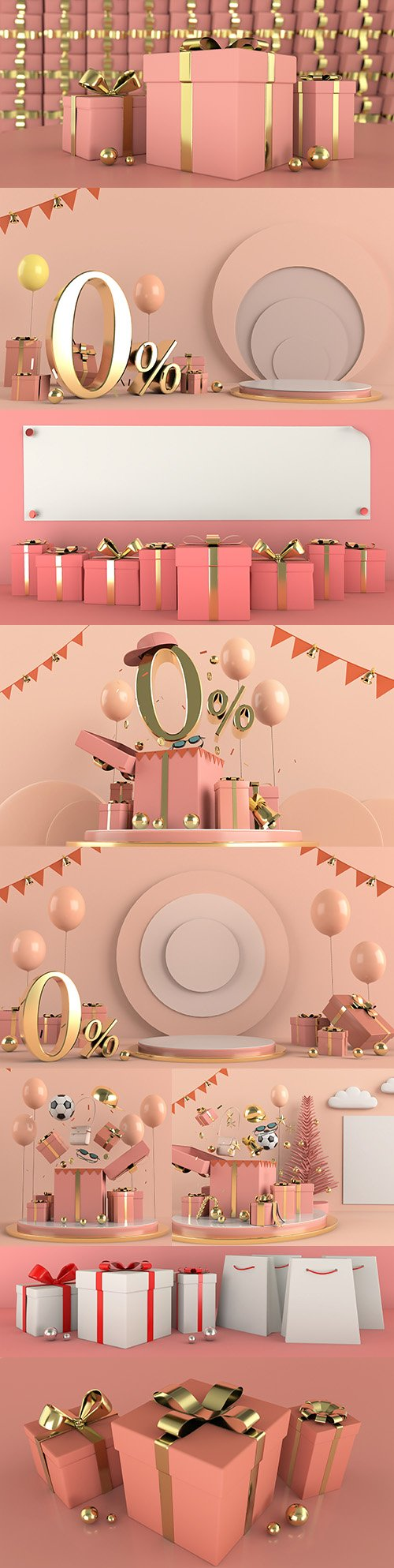 Balloons and gifts decorative holiday background