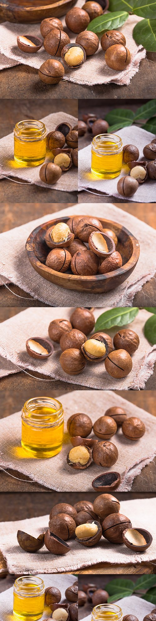 Aromatic oil and macadamia nut with leaves on sac