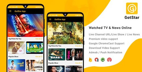 CodeCanyon - GotStar - Android Live TV - Live Streaming - Web Series, Movies, Live Cricket - Online News (Update: 5 October 19) - 24039812