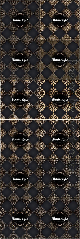 Luxury seamless pattern mandala, gold vector ornaments # 3