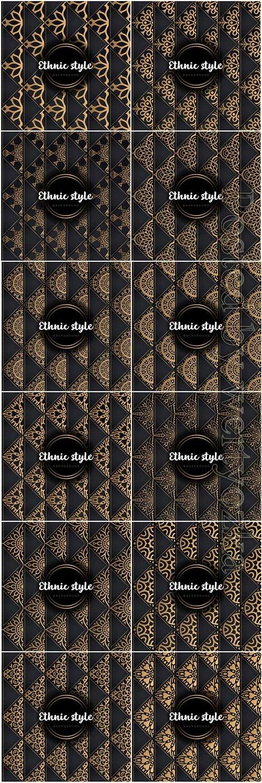 Luxury seamless pattern mandala, gold vector ornaments # 4