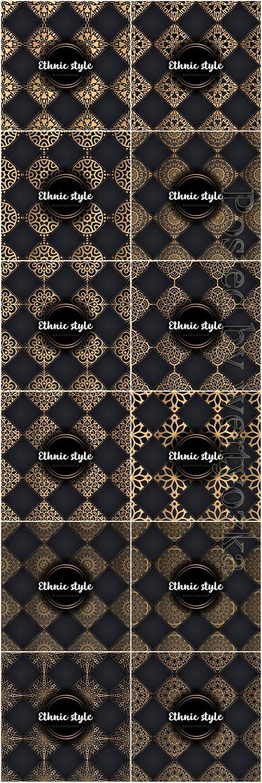 Luxury seamless pattern mandala, gold vector ornaments