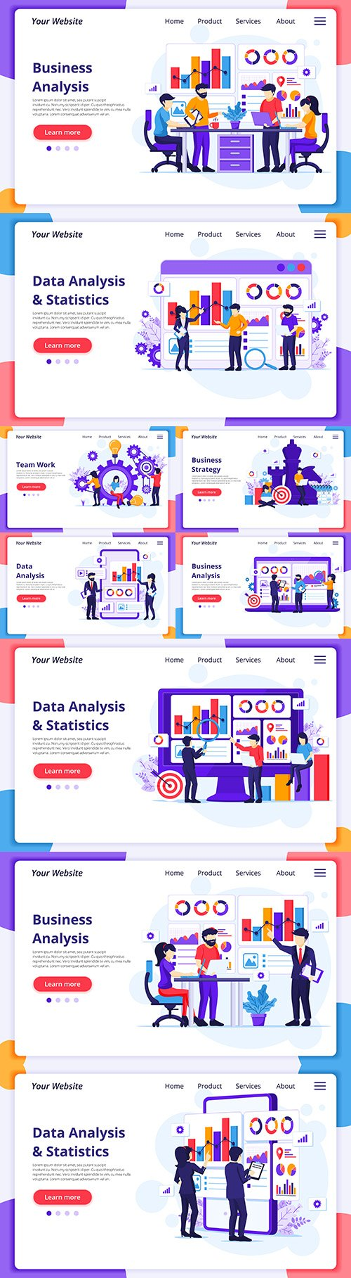 Business analysis people work with charts landing page template