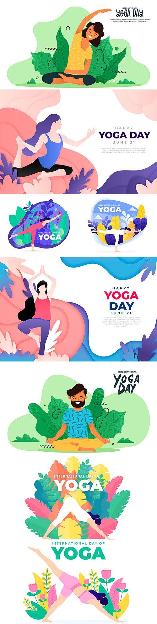 International Yoga celebration day flat design