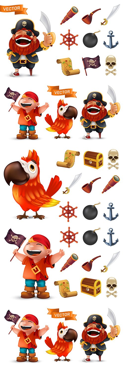 Pirate captain with weapons drawn cartoon illustration
