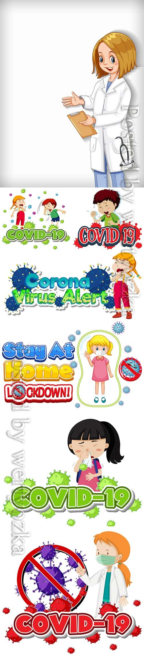 Coronavirus, medicine and people concept vector # 9