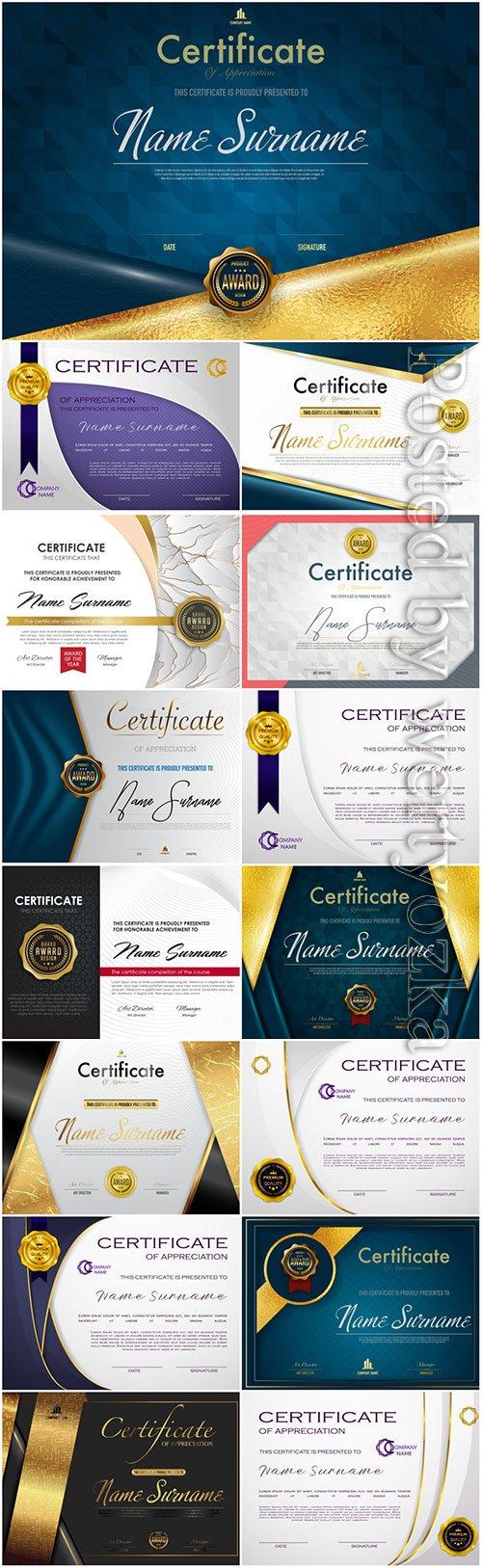 Certificates templates design vector
