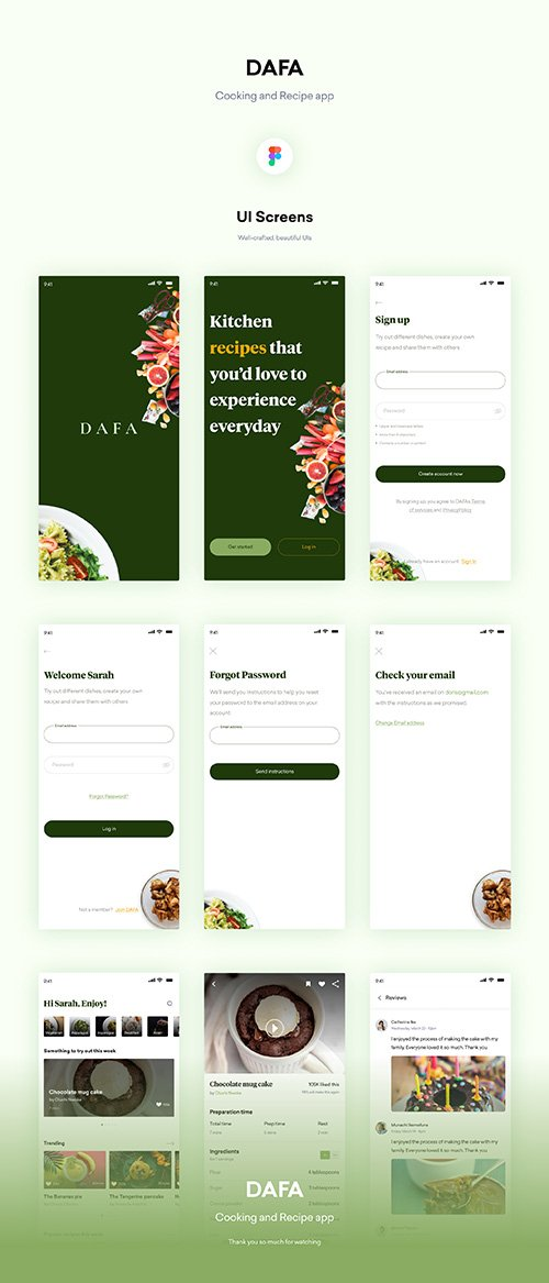 DAFA - Cooking and recipe UI Kit