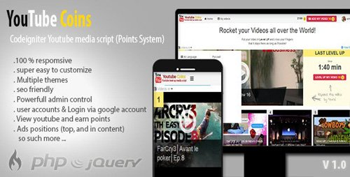 CodeCanyon - YouTube Coins v2.0.1 - (Media Script + Points System) - 11417642