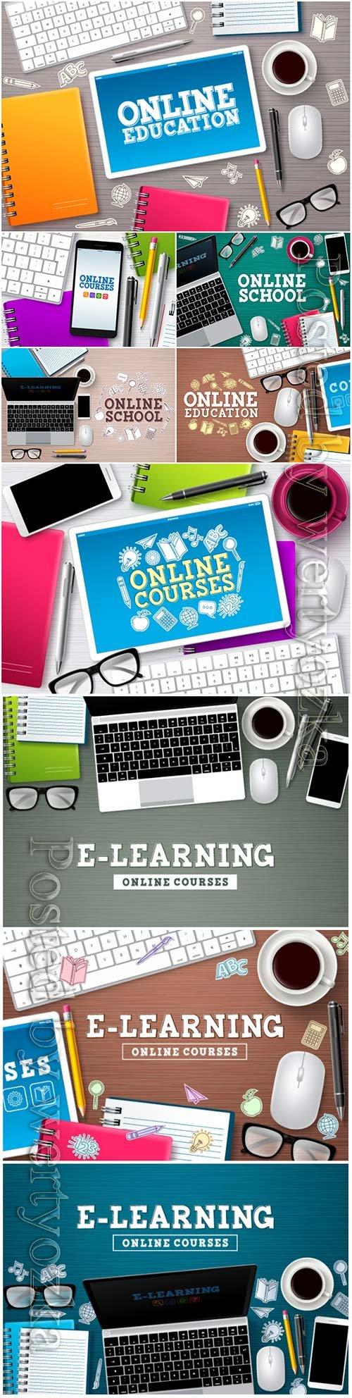 Online education elearning vector banner