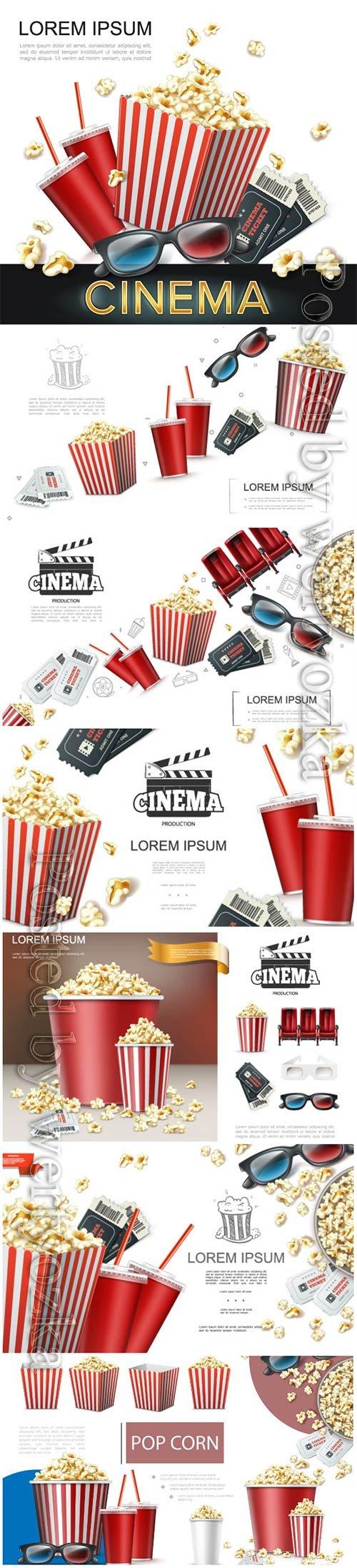 Realistic cinema elements vector background