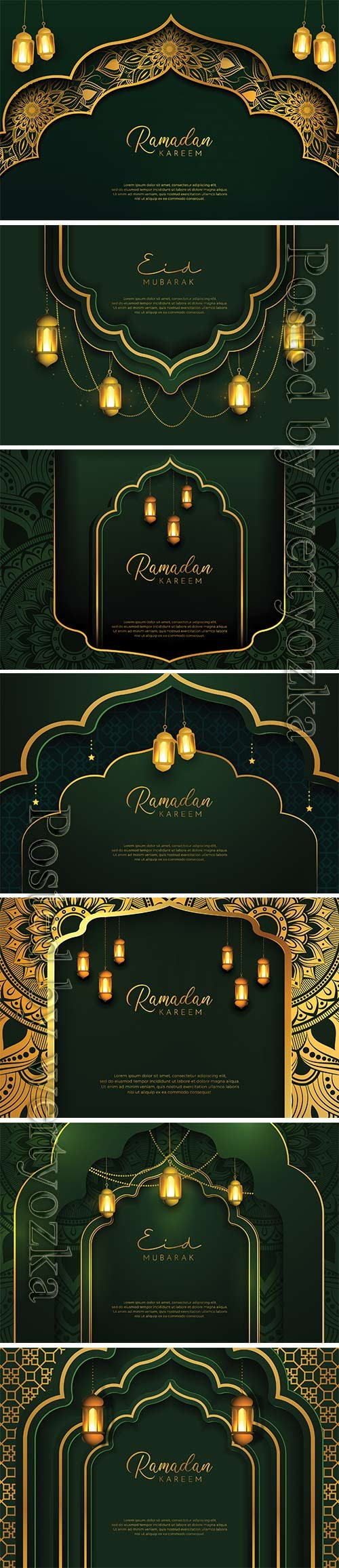 Ramadan Kareem background with gold and green color luxury style