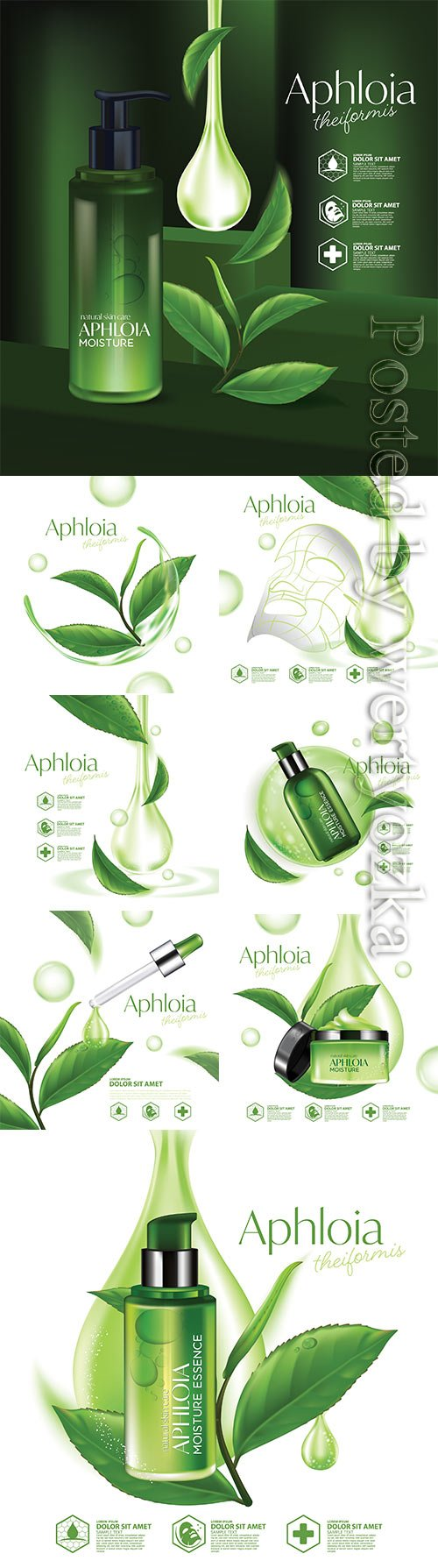 Natural skin care cosmetic vector illustration