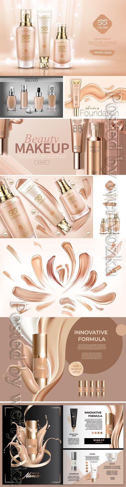 Bb cream beauty cosmetics and smears foundation vector illustration