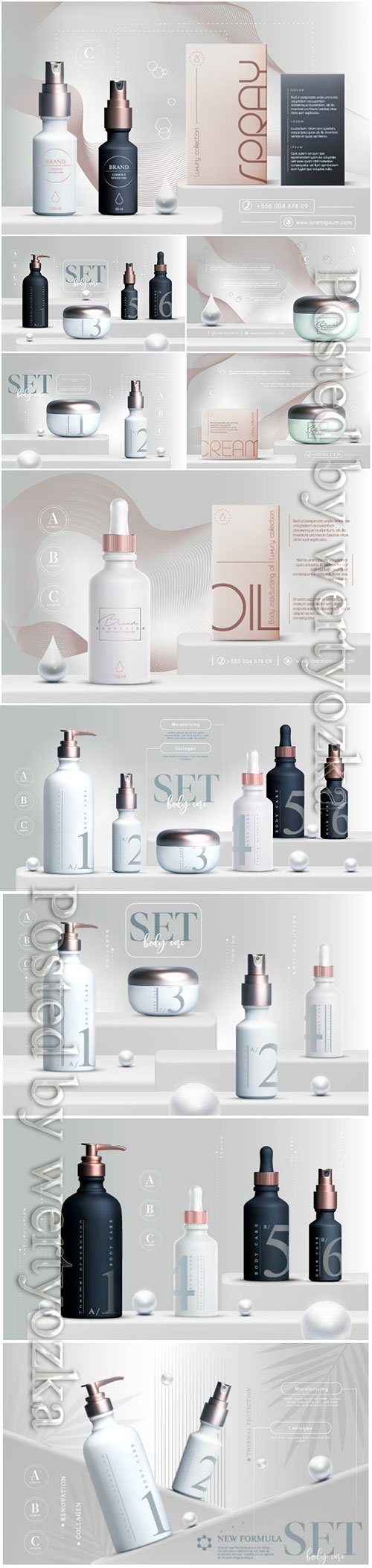 Vector 3D elegant cosmetic products set vector illustration