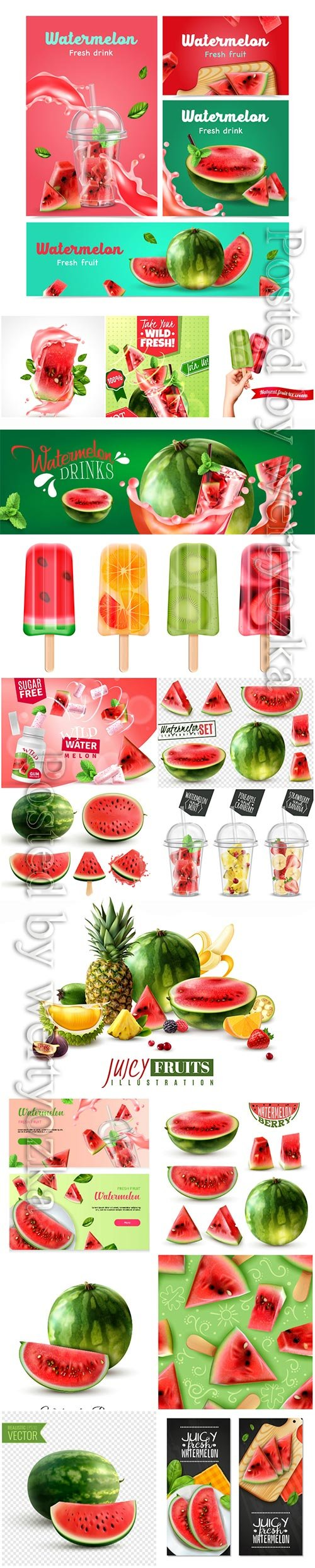 Watermelon realistic vector set, fruits, berries, fresh juices, ice cream