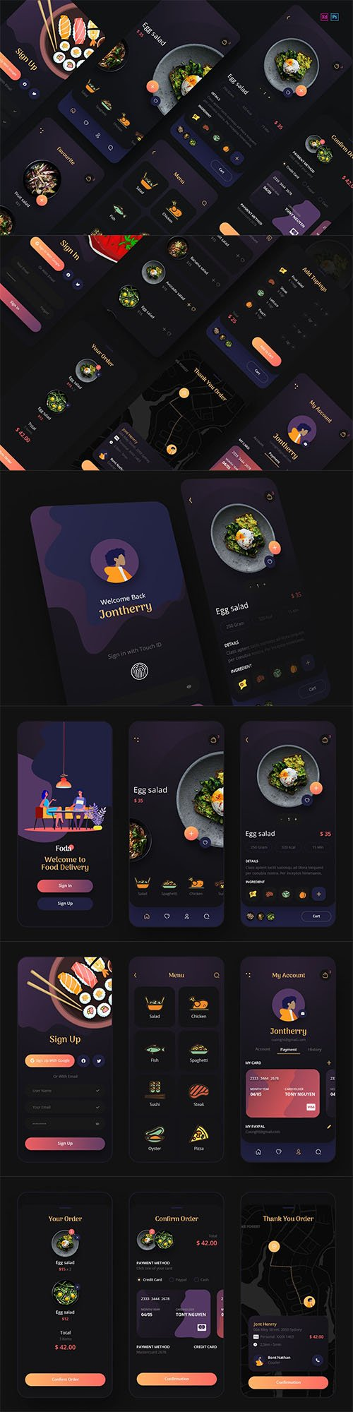 Foda - Food Delivery Mobile App UX, UI Template