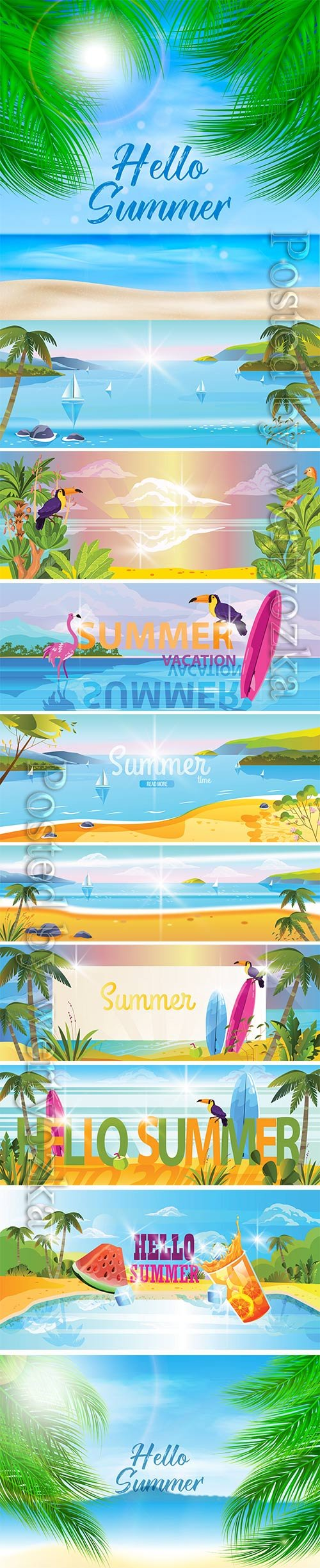Summer vacation banner with topical landscape view