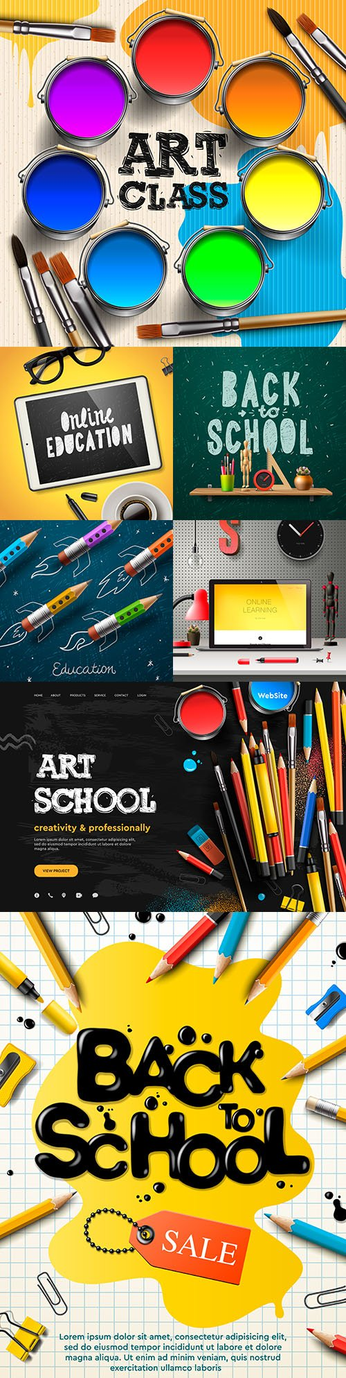 Back to school and art class collection illustration 3