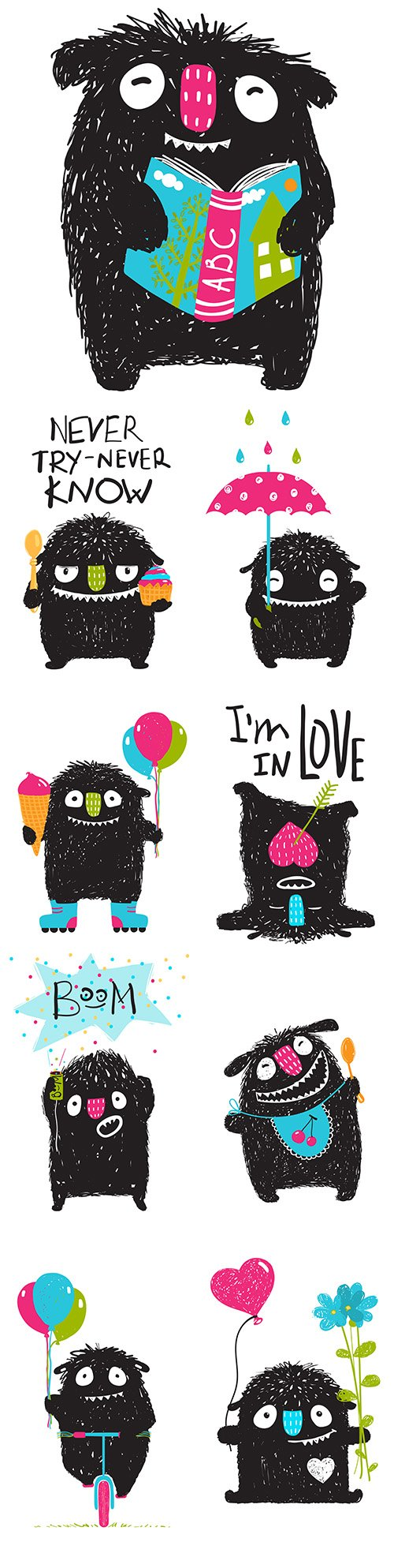 Funny monster with flowers and hearts illustration for children