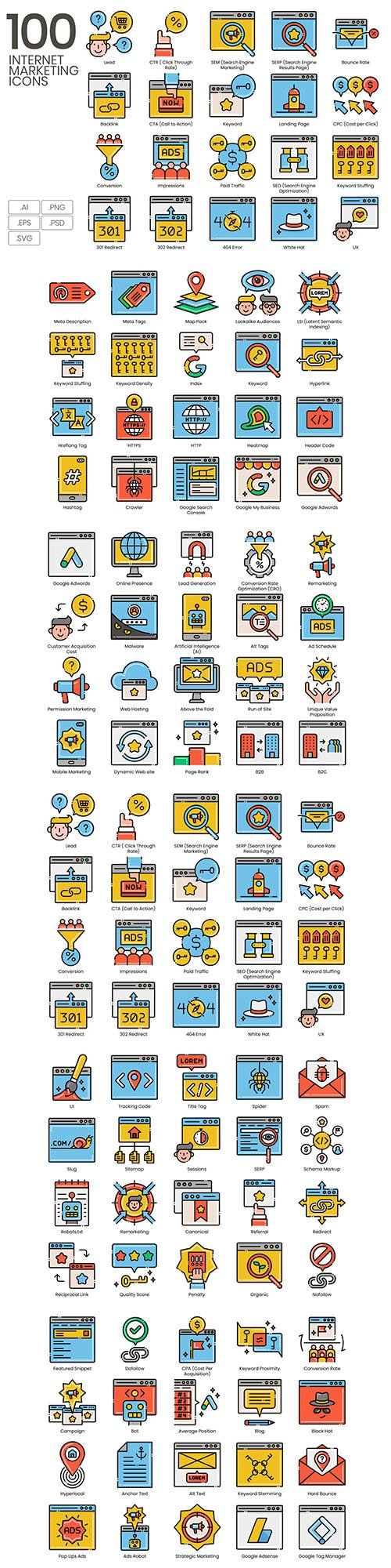 100 Internet Marketing Icons | Aesthetics Series