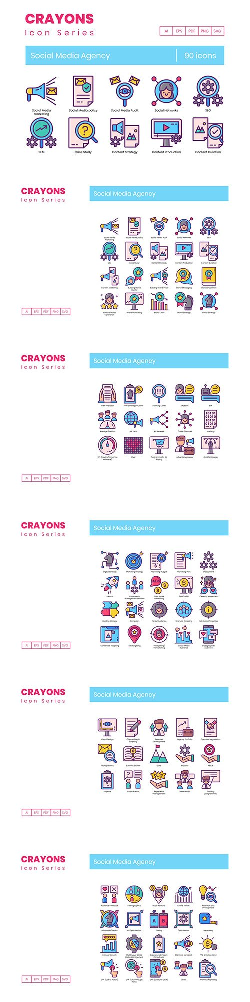 90 Social Media Agency Icons | Crayons Series