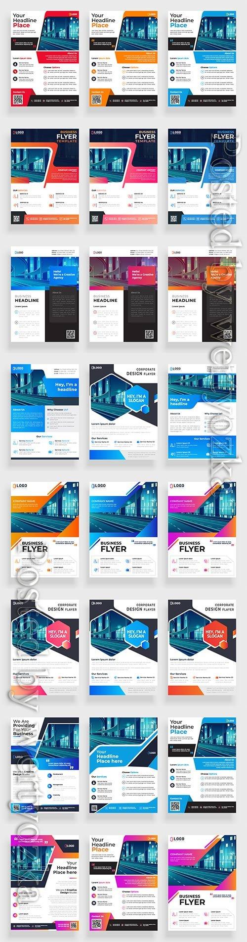 Business flyer template design, brochure vector illustration # 9
