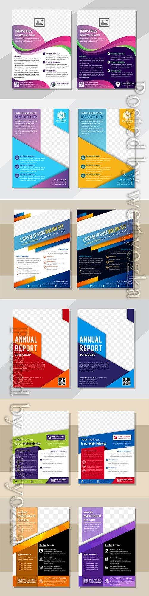 Business flyer template design, brochure vector illustration
