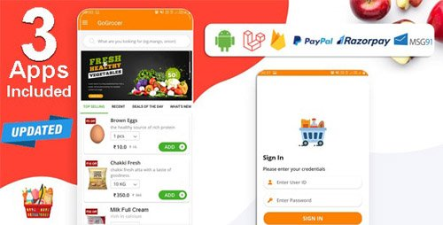 CodeCanyon - Multi-Store Grocery Delivery App with PHP Backend and Store & Delivery Boy App v1.5 - 22083396