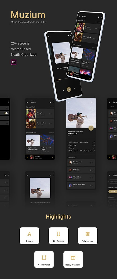 Muzium - Music Streaming mobile app UI KIT
