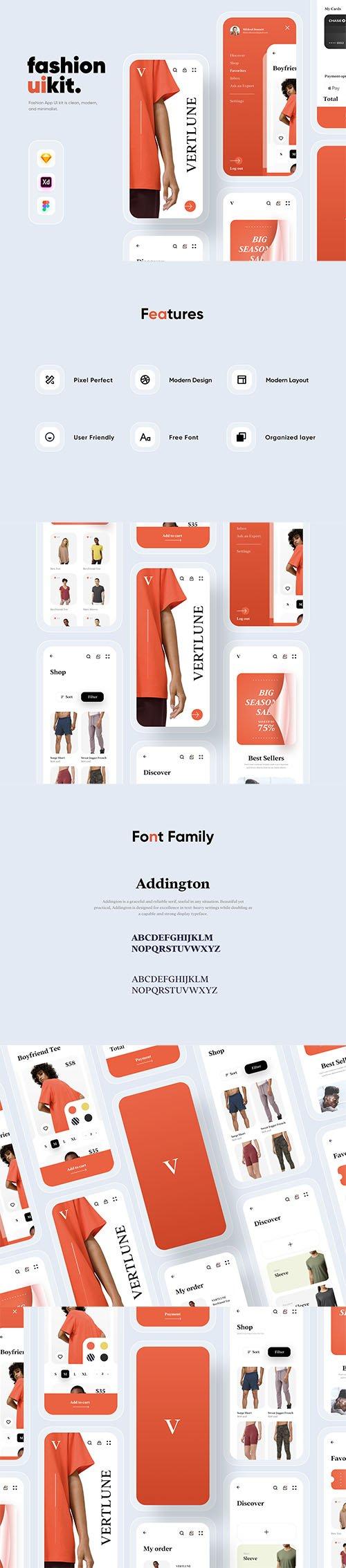 Verlune fashion eCommerce app UI Kit
