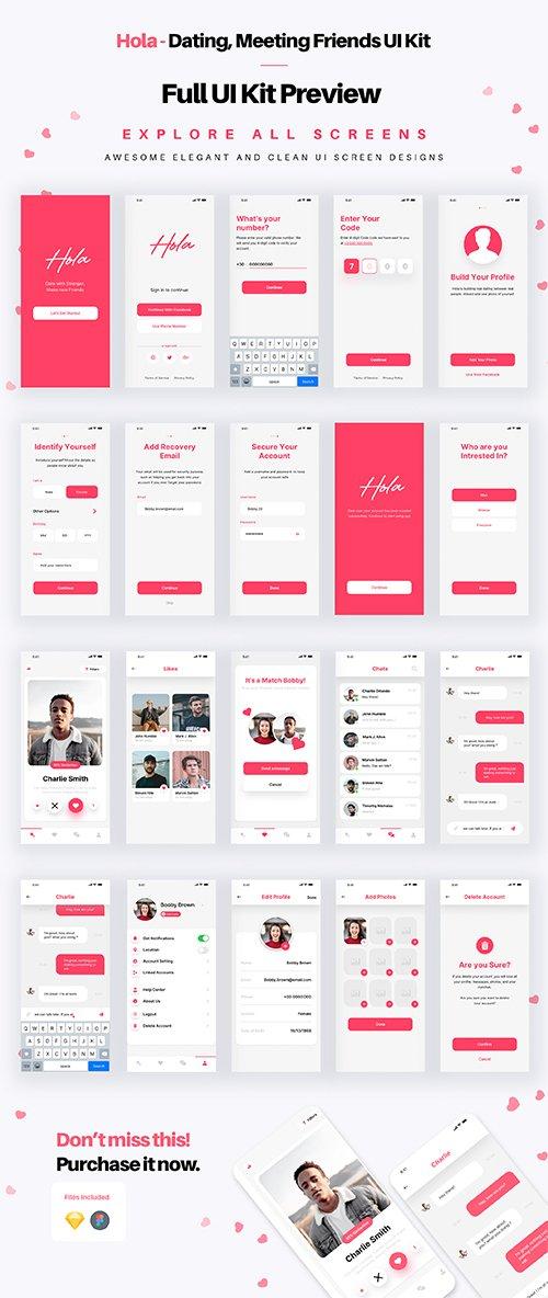 Hola - Dating, Relationship & Social Media App UI Kit