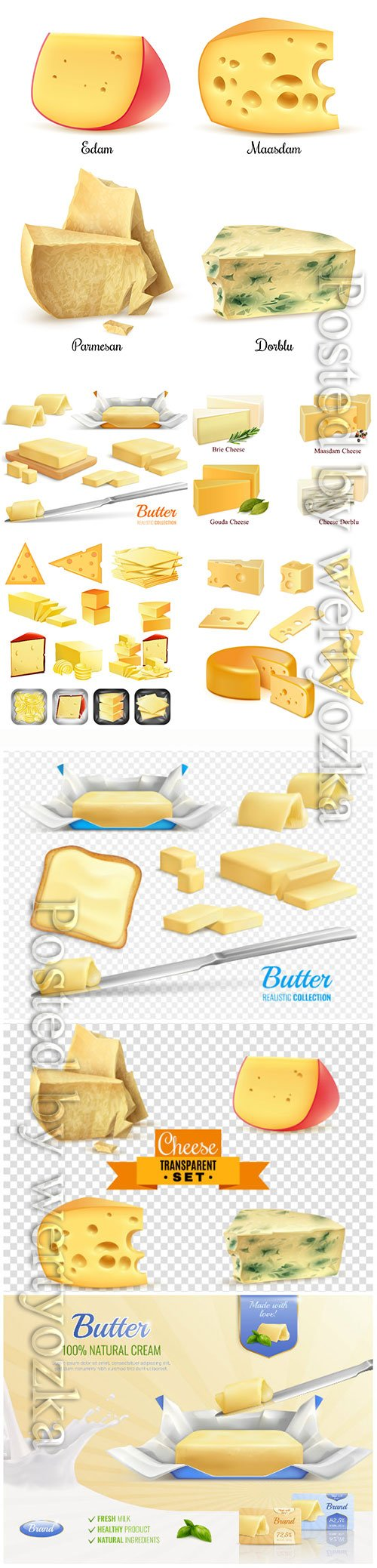Dairy, products, cheese, butter, vector