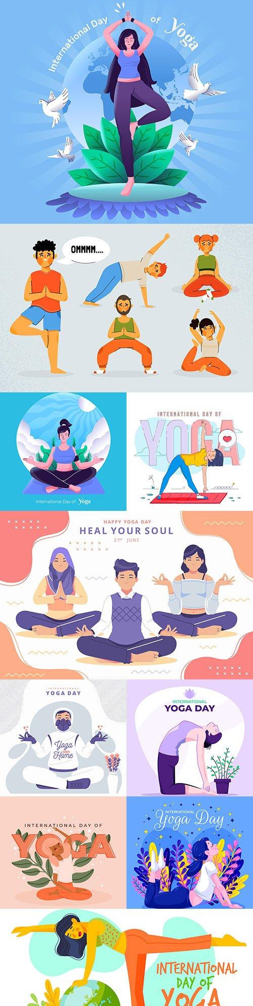 Yoga International day and meditation design illustration 4