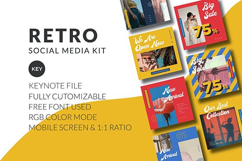 Retro Social Media Kit - Keynote