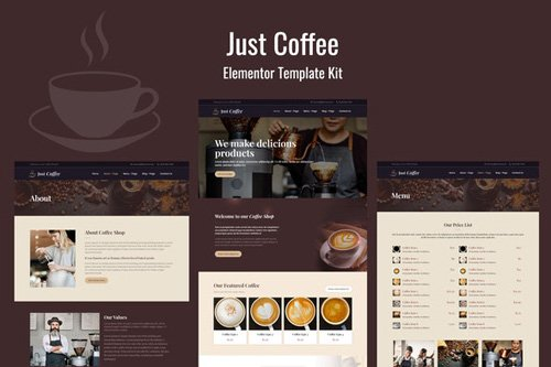 ThemeForest - Justcoffee v1.0 - Cafe and Coffee Elementor Template Kit - 26375417