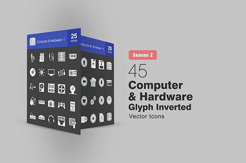 45 Computer & Hardware Glyph Inverted Icons S2