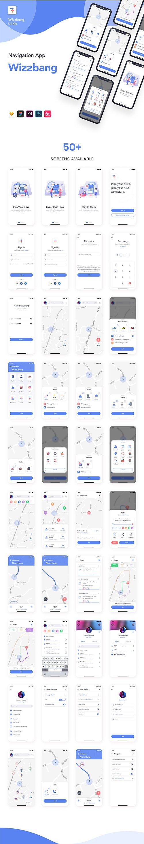 Wizzbang - Navigation App UI Kit