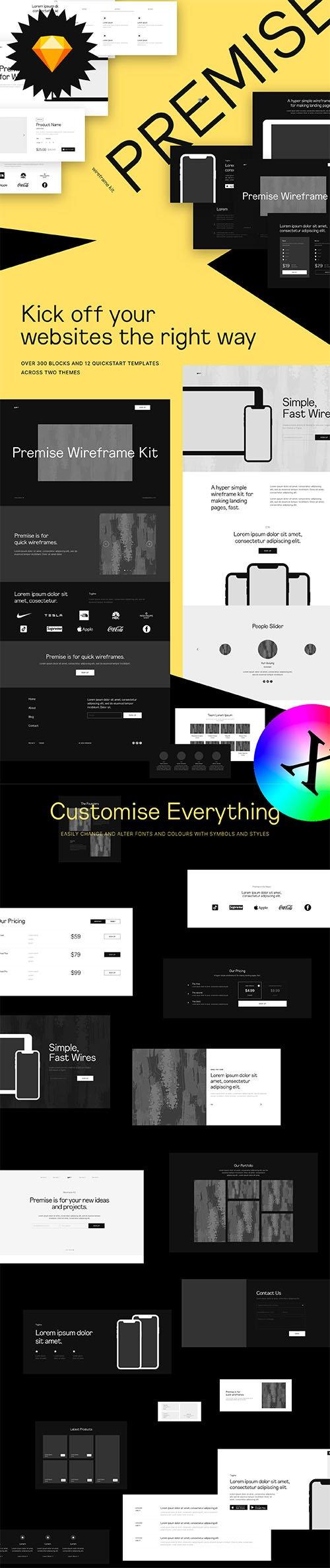 Premise - Website and Landing Page Wireframe Kit - Desktop